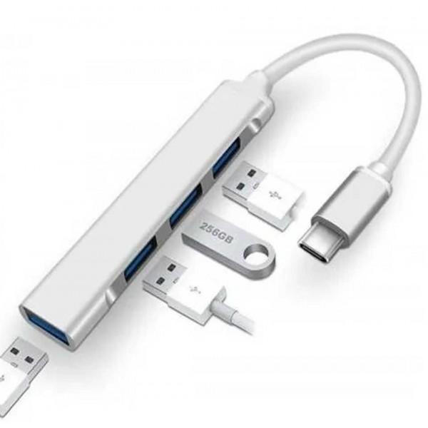 Hub Usb Tipo C a 4 Puertos Usb 3.0 Compatible con Pc y Mac